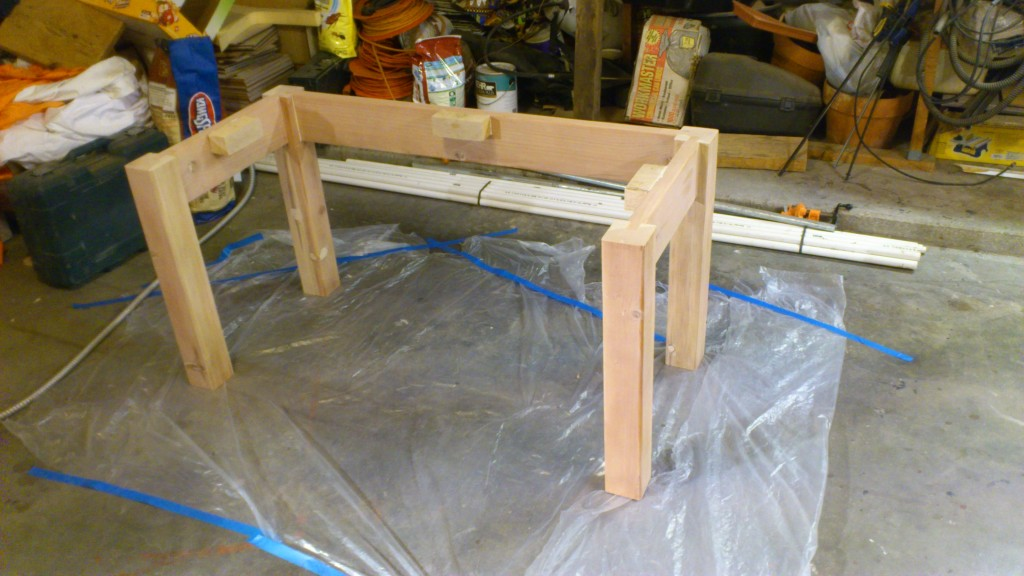 The legs, ready for staining. What we don't see is the hours of sanding I did on everything...